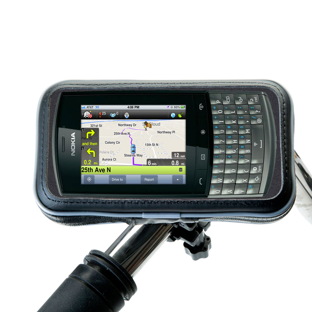 Heavy Duty Weather Resistant Bicycle / Motorcycle Handlebar Mount Holder Designed for the Nokia Asha 303