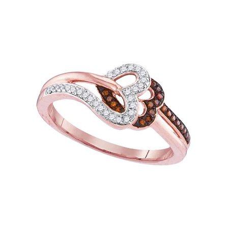 10kt Rose Gold Womens Round Red Color Enhanced Diamond Heart Love Ring 1/6 Cttw - image 1 of 1