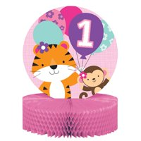 "Pack of 6 Pink and Purple ""1st Birthday"" Party Centerpiece"
