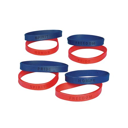 Fun Express - Rubber Patriotic Sayings Bracelet (2 Dz) for Fourth of July - Jewelry - Bracelets - Rubber Bracelets - Fourth of July - 24 Pieces