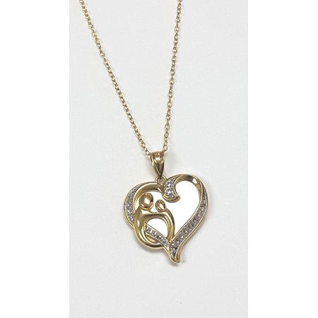Gorgeous 0 03 Carat Mother   Child  Heart Pendant Necklace In 14K Gold Plated