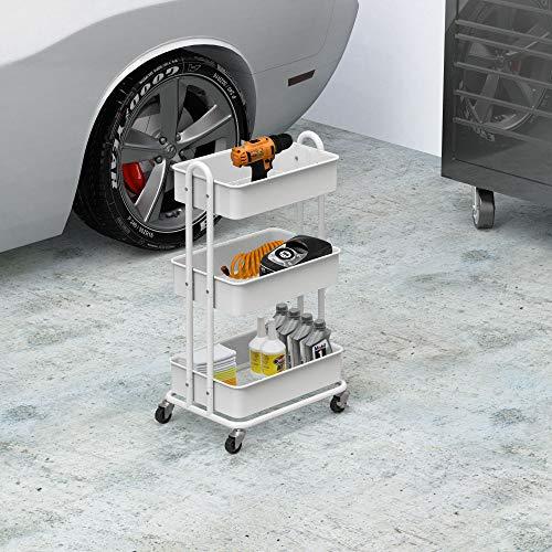 Details about  /3-Tier Metal Utility Rolling Cart Simple Houseware Heavy Duty White//Black+