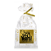 CakeSupplyShop Item#060CTC 60th Birthday / Anniversary Cheers Metallic Gold & Gold Swirl Party Favor Bags with Twist Ties