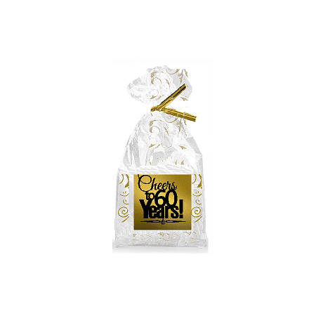 CakeSupplyShop Item060CTC 60th Birthday Anniversary Cheers Metallic Gold Swirl Party Favor Bags With Twist Ties