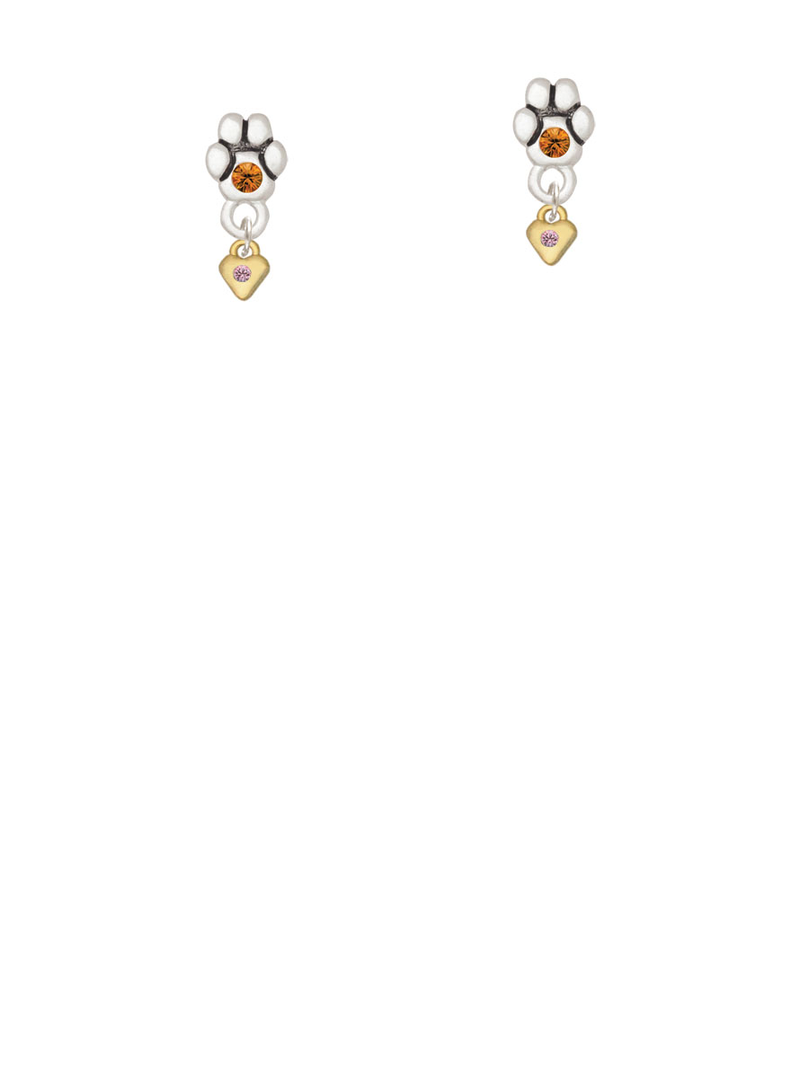Mini Light Pink Birthday Crystal Gold Tone Heart Yellow Crystal Paw Earrings by Delight and Co.