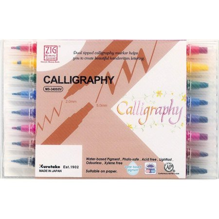 - Zig Memory System Calligraphy, Dual Tip Markers, 8 Colors