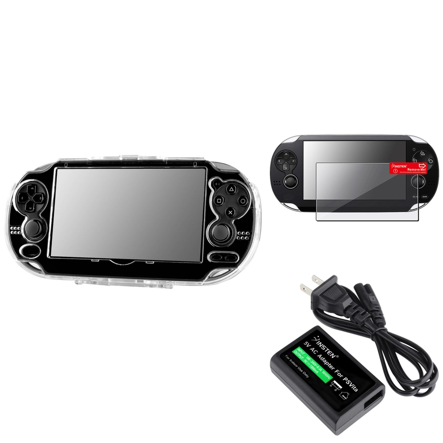 Insten Clear Crystal Hard Case+US Plug AC Adapter+Screen Protector For Sony PS Vita PSV (3-in-1 Accessory Bundle)