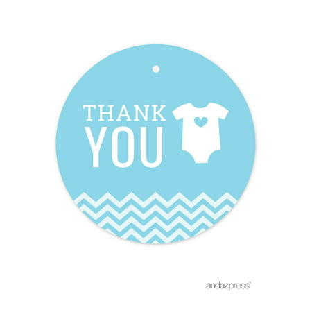 Thank You Baby Blue Chevron Baby Shower Round Circle Gift Tags, 24-Pack
