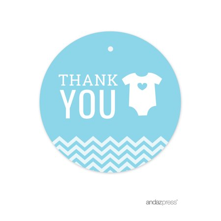 Thank You Baby Blue Chevron Baby Shower Round Circle Gift Tags, 24-Pack](Personalized Halloween Gift Tags)