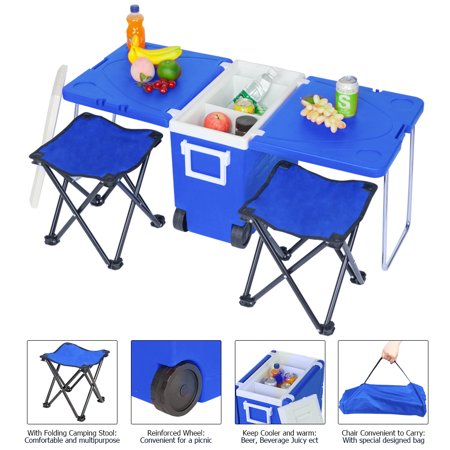 Large Cooler on Wheels, 2019 Upgraded Rolling Cooler with Foldable Picnic Table and 2 Portable Fishing Chair, 30-Quart Wheeled Cooler for Camping, BBQs, Tailgating & Outdoor Activities, Blue,