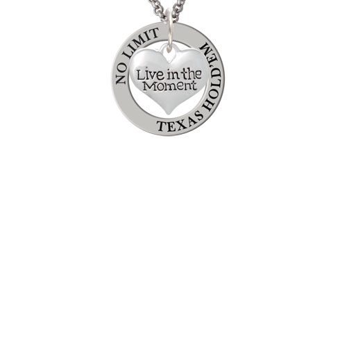 Live in the Moment Heart Texas Hold'em Affirmation Ring Necklace