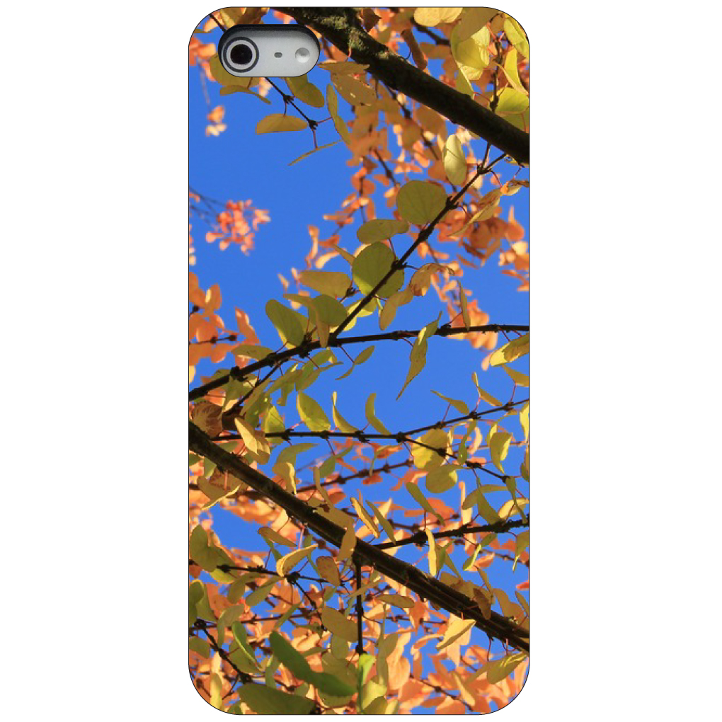 CUSTOM Black Hard Plastic Snap-On Case for Apple iPhone 5 / 5S / SE - Autumn Leaves Sky