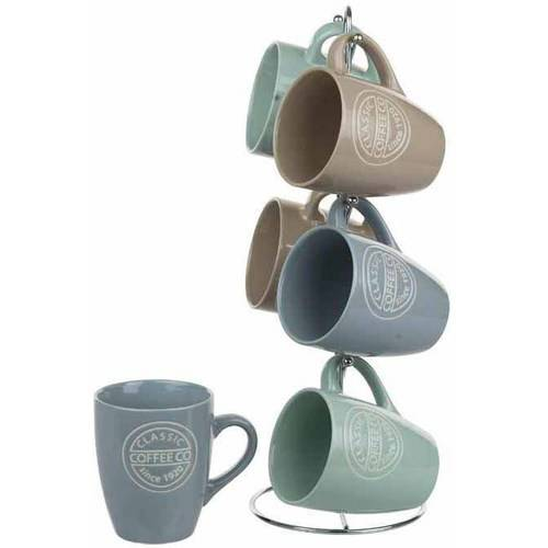 6-Piece Mug Set with Stand, Coffee