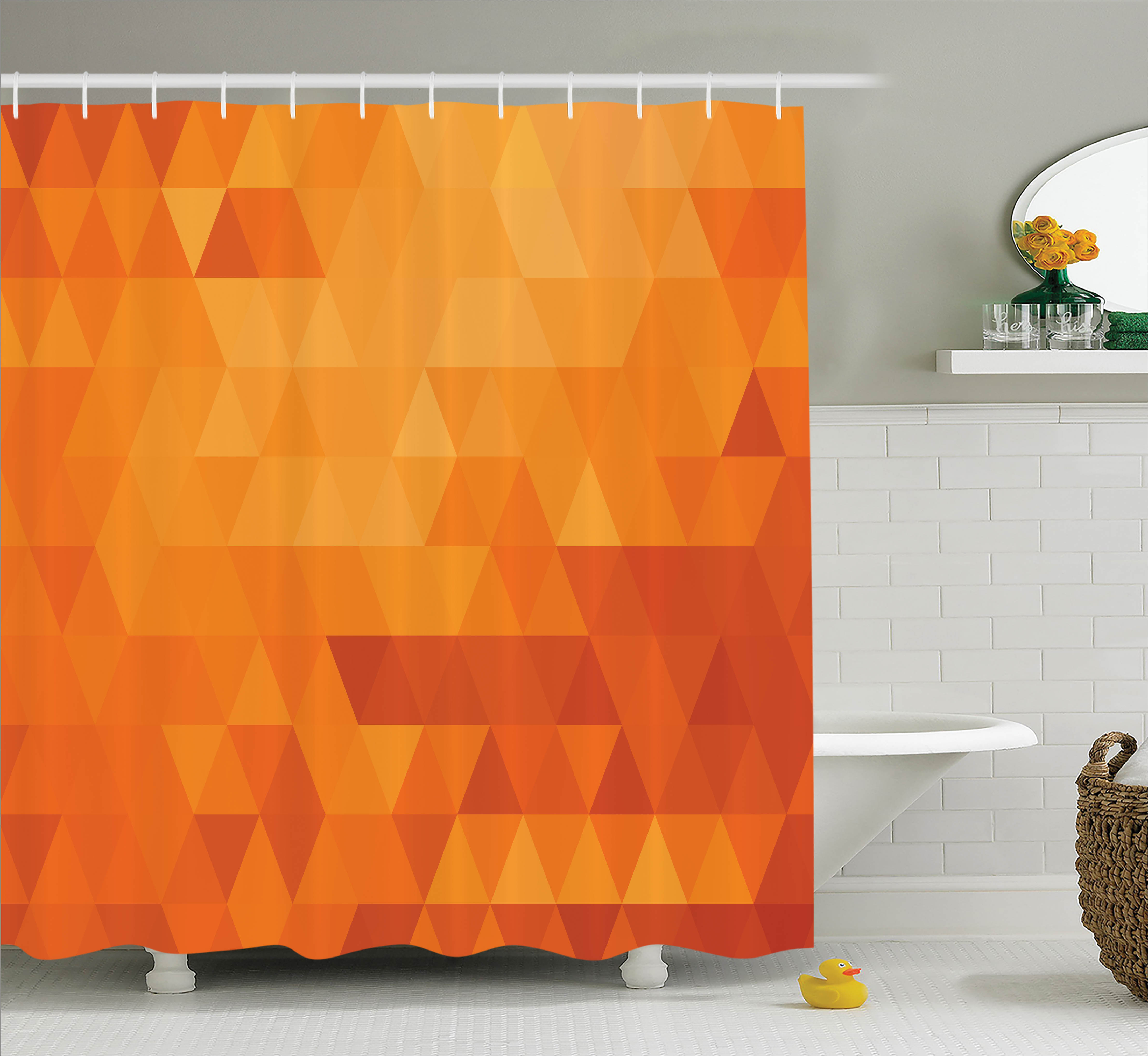 Orange Shower Curtain Set Triangle Mosaic Shaded Shapes And Patterns Abstract Digital Pixel Decorative Home Bathroom Decor Burnt By Ambesonne