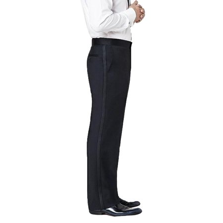 Neil Allyn Men's Flat Front Comfort Waist Satin Stripe Tuxedo Pants
