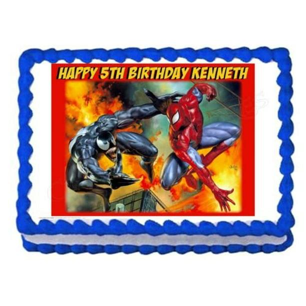 Incredible Marvel Spider Man Venom Fire Edible Cake Topper Image Walmart Funny Birthday Cards Online Elaedamsfinfo