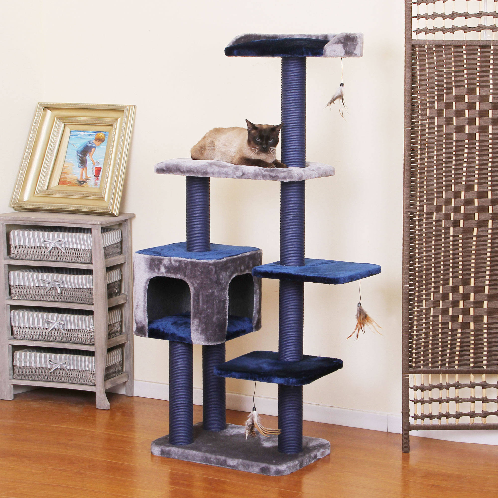 PetPals Group Midnight Molly Elegant Metallic And Ocean Blue Color Cat Tree