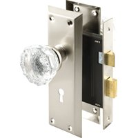 Prime-Line E 2496 Mortise Lock Set, 7 in L x 2-1/4 in W x 7/8 in D, Steel, Satin Nickel