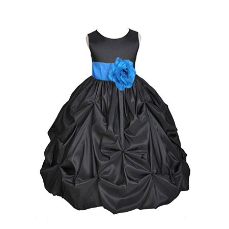 Ekidsbridal Black Satin Taffeta Pick-Up Bubble Flower Girl Dresses Junior Toddler Formal Special Occasions Wedding Pageant Dresses Ball Gown Dance Recital Reception Birthday Girl Party - Toddler Ball Gown