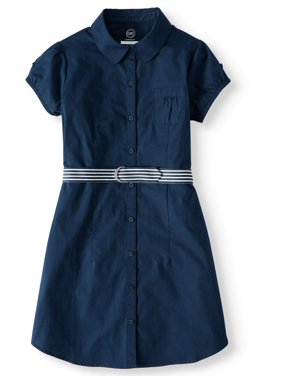 Wonder Nation Girls 4-16 School Uniform Button-Up Shirt Dress