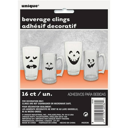 Pumpkin Faces Halloween Drink Markers, 16-Count - Black Drinks For Halloween
