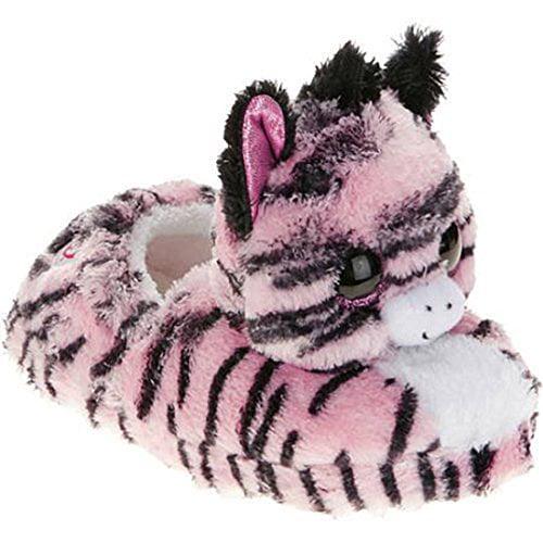 Beanie Boo Girls Winter Slippers Faux Fur Pink Zebra Zoey Slip on (Small 10/11 Little Kid)