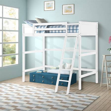 ModernLuxe Panel Style Solid Wood Loft Bed, Side Angled Ladder, Twin