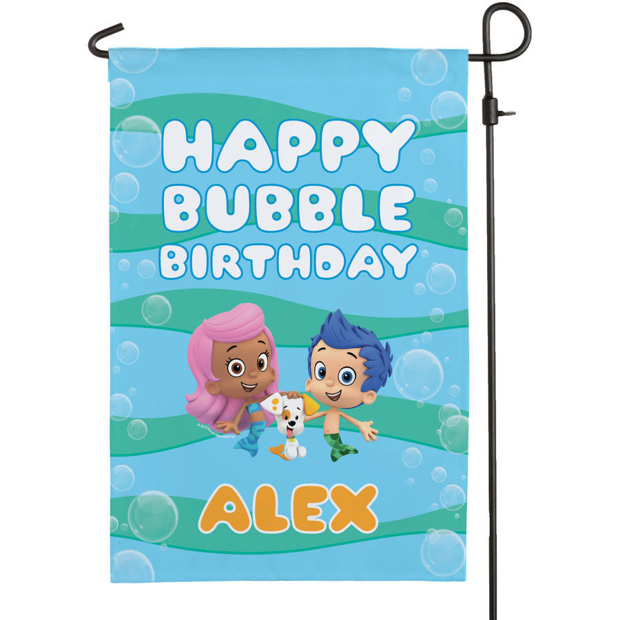 Personalized Bubble Guppies Birthday Flag
