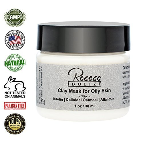 Clay Mask for Acne Prone Skin with Kaolin Clay Colloidal Oatmeal Allantoin Detoxify Skin Cleanse Pores Minimize Oily Skin - 1oz