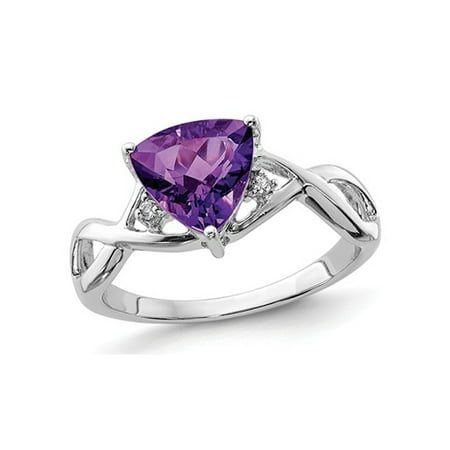 Ladies Solitaire Trillion Amethyst Ring 1.70 Carat (ctw) in Rhodium Plated Sterling Silver - image 2 de 2