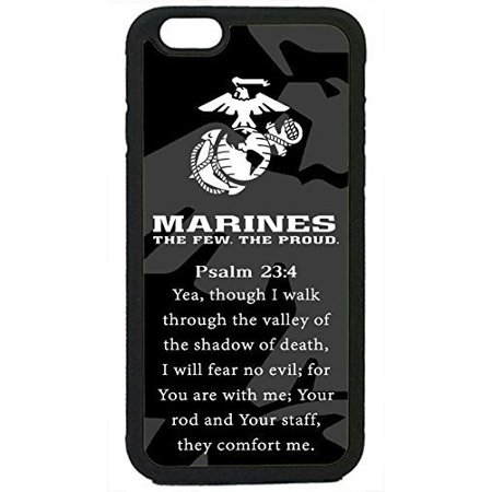Ganma USMC Marines Prayer Psalm 23 4 Marine Corps Case Rubber Silicon Black Case For iPhone 8 PLUS (5.5 in), ()