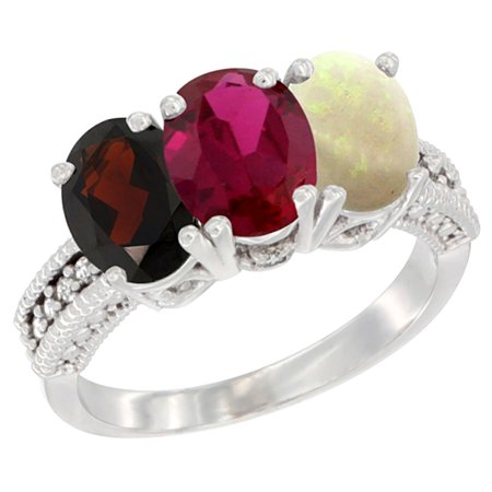 10K White Gold Natural Garnet  Enhanced Ruby   Natural Opal Ring 3 Stone Oval 7X5 Mm Diamond Accent  Sizes 5   10