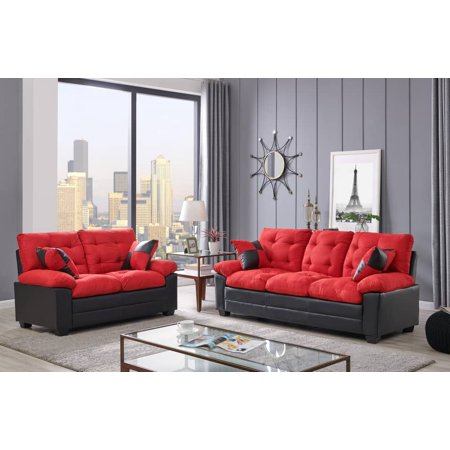 Living Room Simple Classic Plush Cushion Sofa And Loveseat Microfiber Upholstery Furniture Couch 2pc Sofa Set Red And Black Color ()