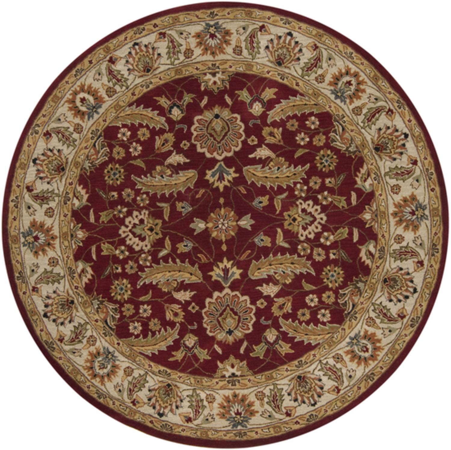 6' Antonius Maroon and Bronze Hand Tufted Round Wool Area Throw Rug