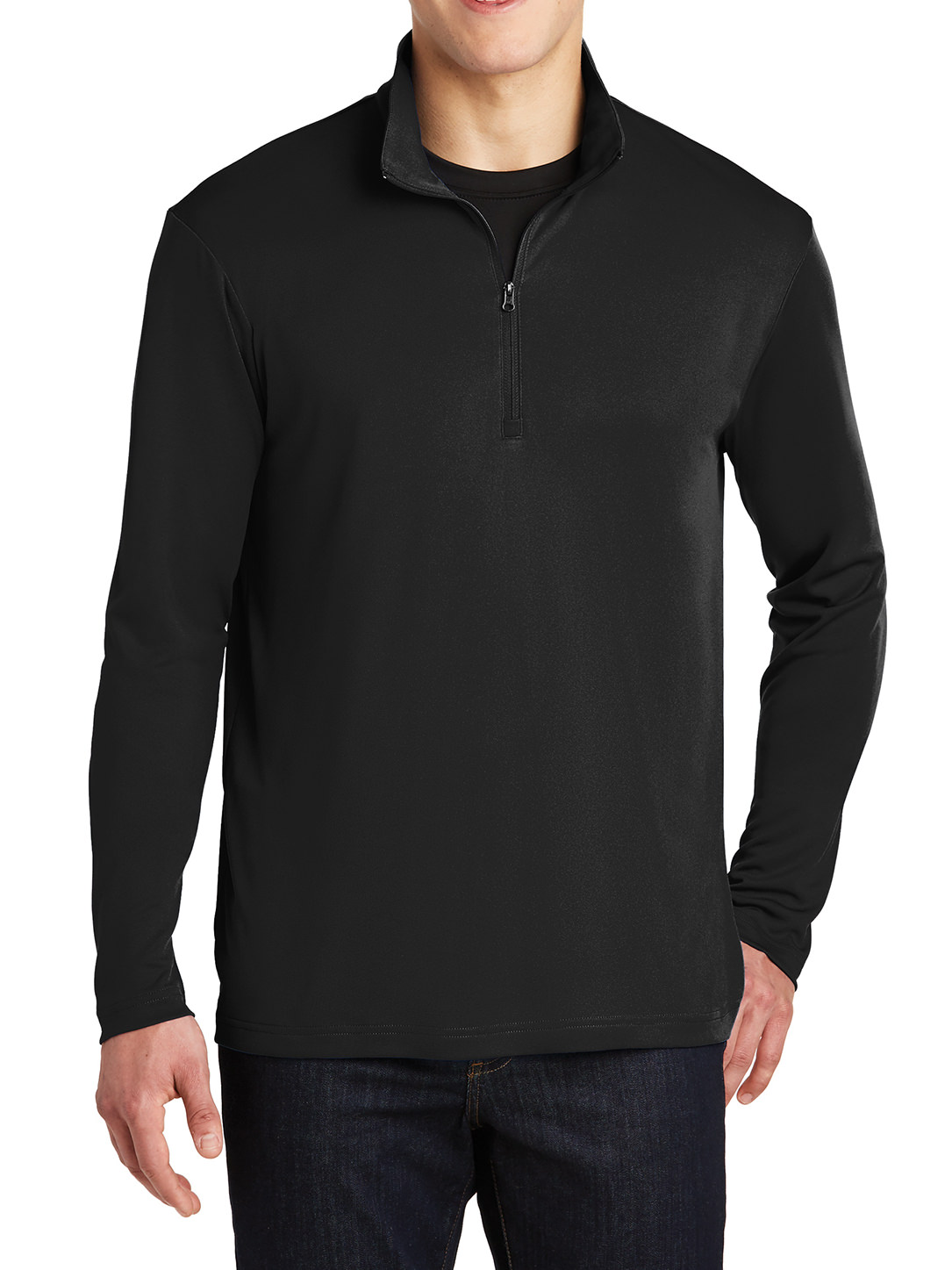 Mafoose Men's Long Sleeves PosiCharge Competitor Cadet Collar 1/4-Zip Pullover Black X-Small