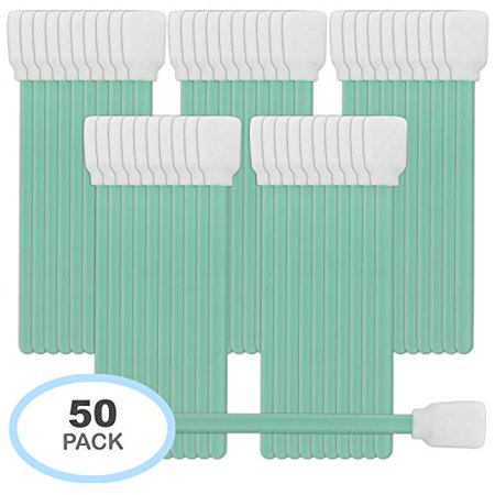 Pixiss 50 Pack Foam Tip Cleaning Swabs Sponge Sticks for Inkjet Print Head, Optical, Gun Cleaning Solvent Resistance