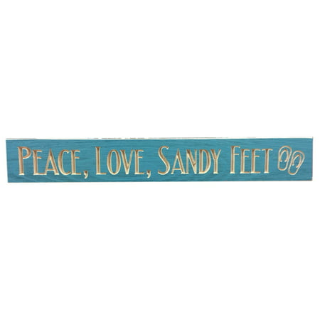 Peace Love Sandy Feet Routed Carved Barnwood Sign Wall Plaque 24 Inches USA Made