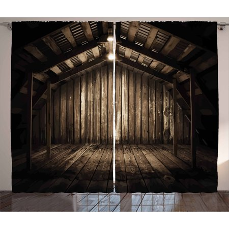 Modern Decor Curtains 2 Panels Set, Old Wooden Rustic Home Cottage Rural Countryside Grunge Rusty Indoors, Window Drapes for Living Room Bedroom, 108W X 90L Inches, Brown Dark Brown, by Ambesonne ()