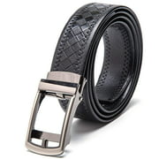 "Men's Leather Automatic Buckle Ratchet Dress Belt for Men Perfect Fit Waist Size Up to 46""-Functional, Stylish and Durable"