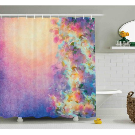 Purple Shower Curtain Watercolor Style Effect Spring Cherry Blossom Decorations For Home Print Fabric