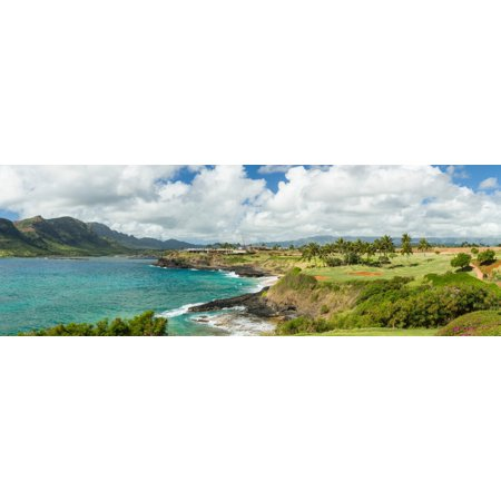 Golf course at coast Nawiliwili Harbor Lihue Kauai County Hawaii USA Poster Print