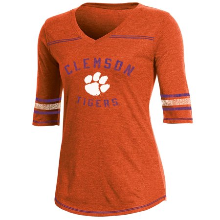 Clemson Stand (Women's Russell Orange Clemson Tigers Fan Half-Sleeve V-Neck T-Shirt)
