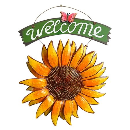 15 inch Tall Handcrafts Metal Sunflower Welcome Sign Vintage Iron Hanging Decorative Butterfly Yard Front Door Porch Bar Cafe Shop Store Inviting Décor Outdoor Wreath Player Welcome Sign