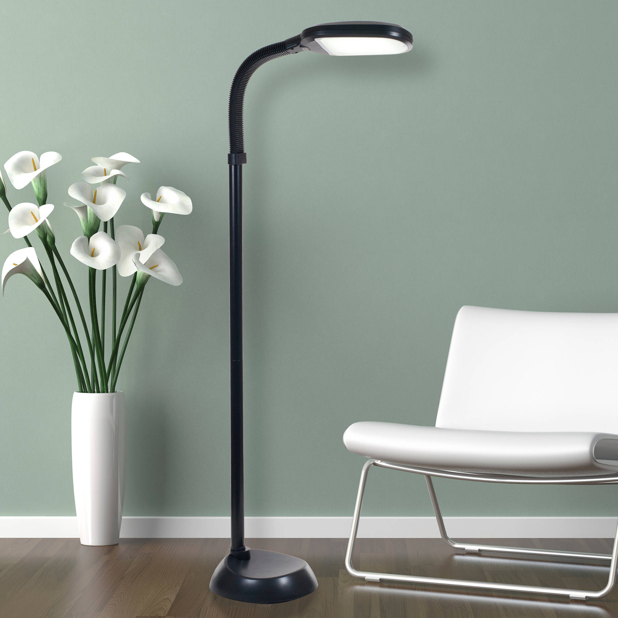 Mainstays black shelf floor lamp with white shade on off cfl bulb included walmart com