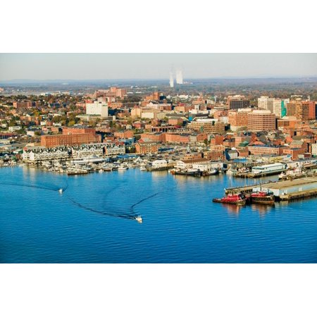 - Aerial of downtown Portland Harbor and Portland Maine with view of Maine Medical Center Commercial street Old Port and Back Bay Poster Print by Panoramic Images