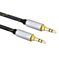 Auxiliary Audio Cable by BasAcc 4' Premium Stereo 3.5mm Braided Audio Cable Gold Plated Silver for Sound bar Soundbar System Speaker Smartphone Cell Phone Tablet iPhone iPod iPad Mini 5 iPad Air 2019