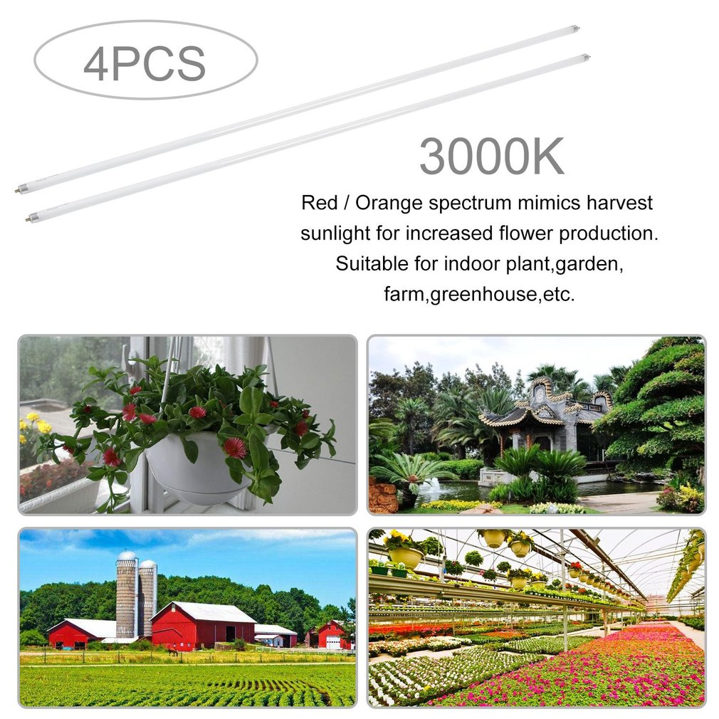 3000K T5 Plant Growing Bulbs 4 Pcs Fluorescent Lamp 4ft Promoting Grow Bloom Light Lightweight Greenhouse Accessories by