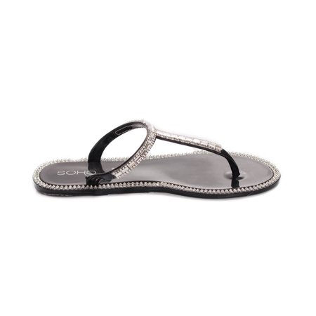 soho shoes ladies jelly slip on t-strap flat sandals with gemstones (Clear Sandal)