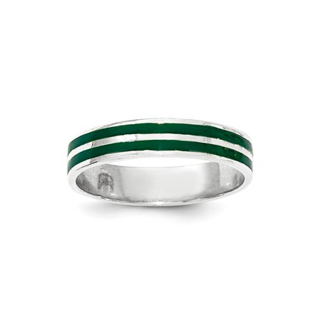 Green Enamel Rose - Roy Rose Jewelry Sterling Silver Polished Green Enamel Ring
