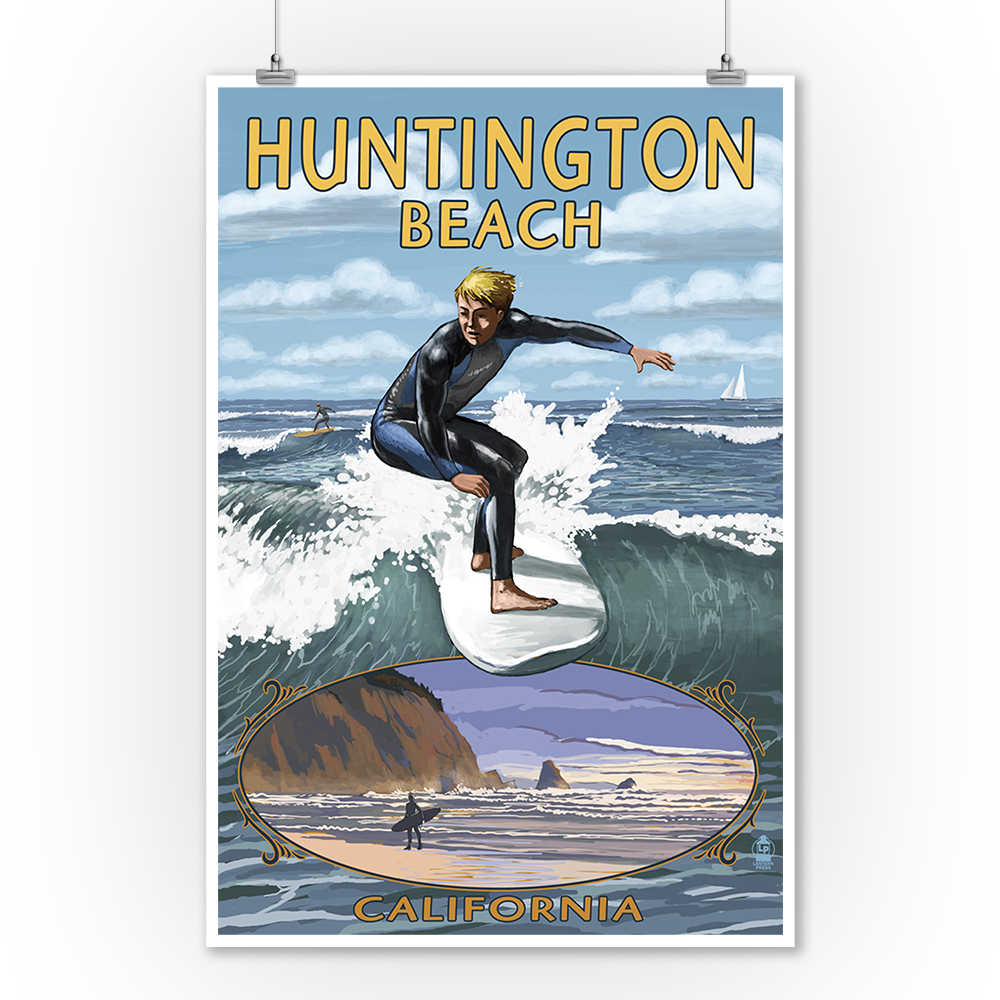 Huntington Beach, California - Day Surfer with Inset - Lantern Press Poster (9x12 Art Print, Wall Decor Travel Poster)